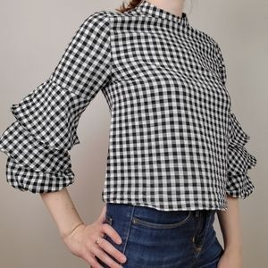 Zara gingham top with ruffle sleeves